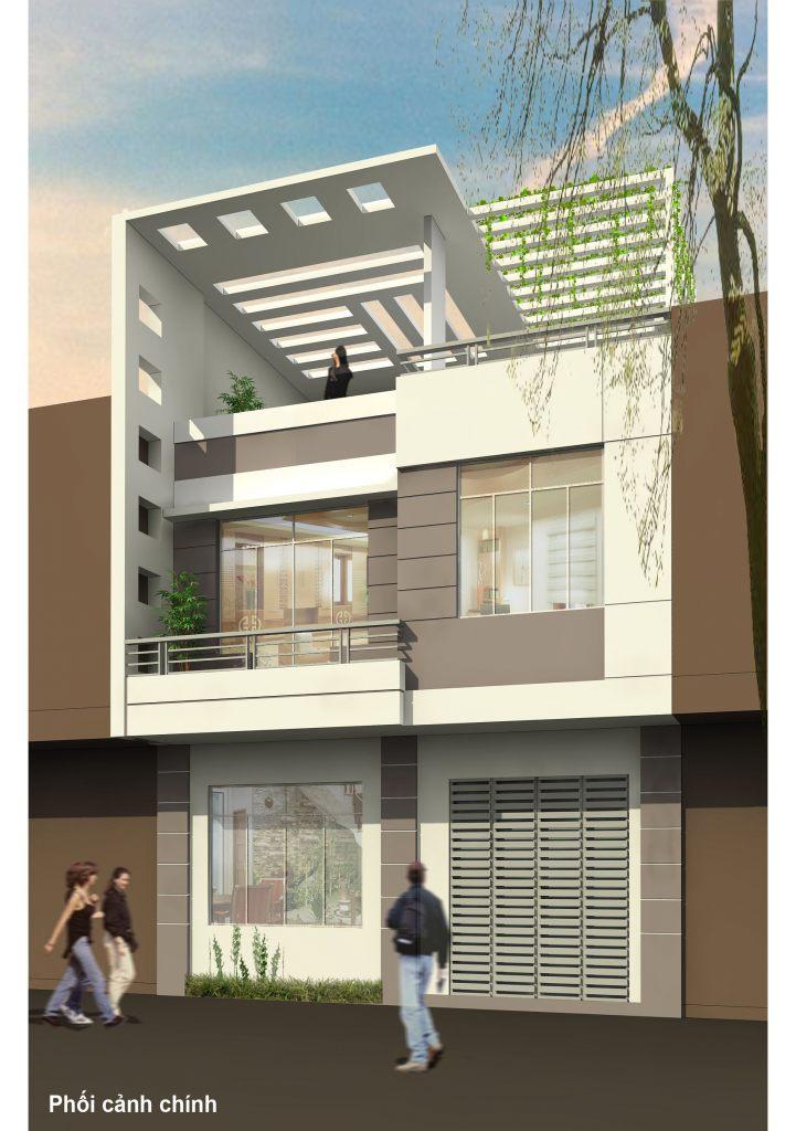 Nhà ở mặt phố thiết kế đẹp hiện đại chia phân lô ảnh 3 tầng